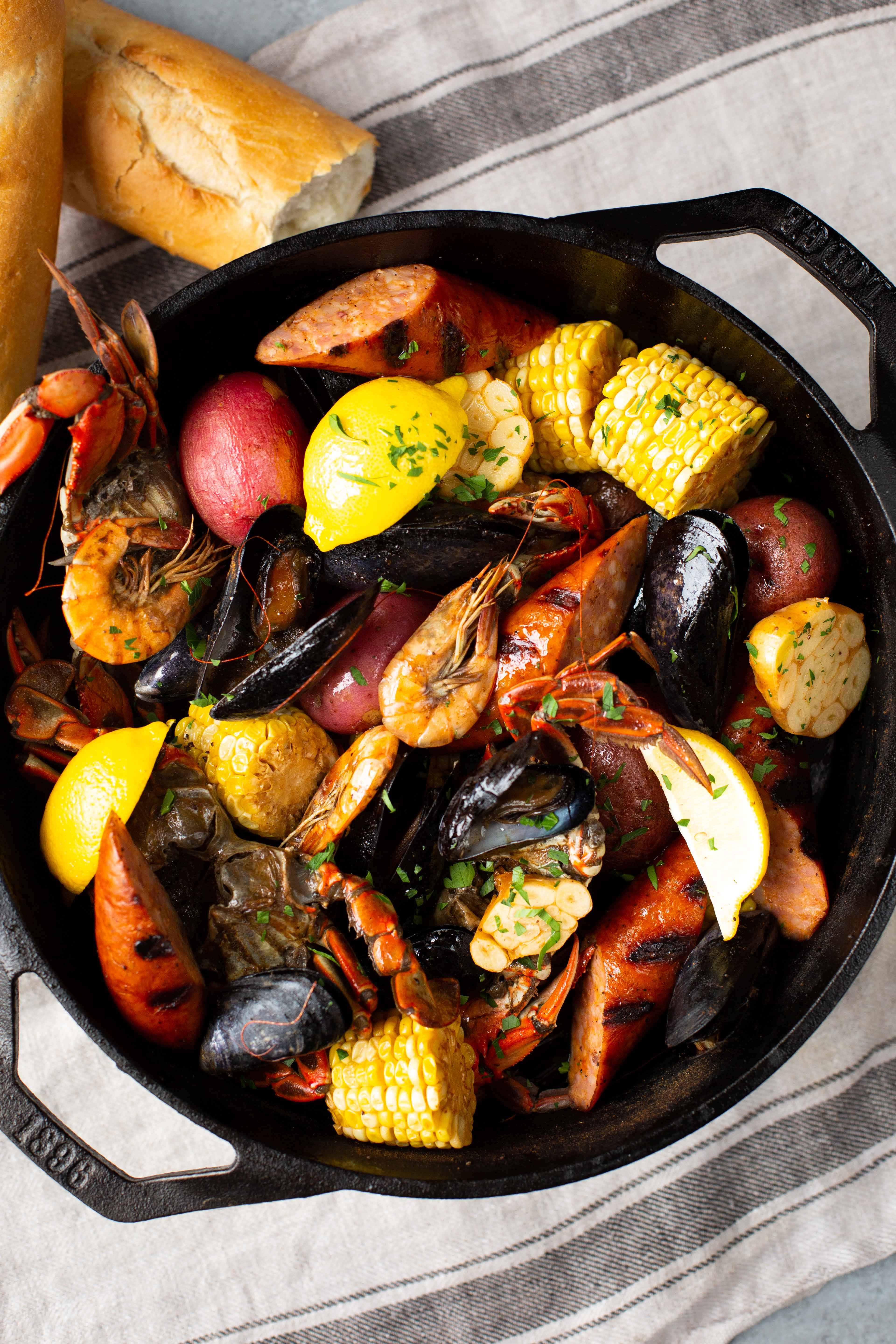 delicious seafood broil in a Lodge cast iron dutch oven